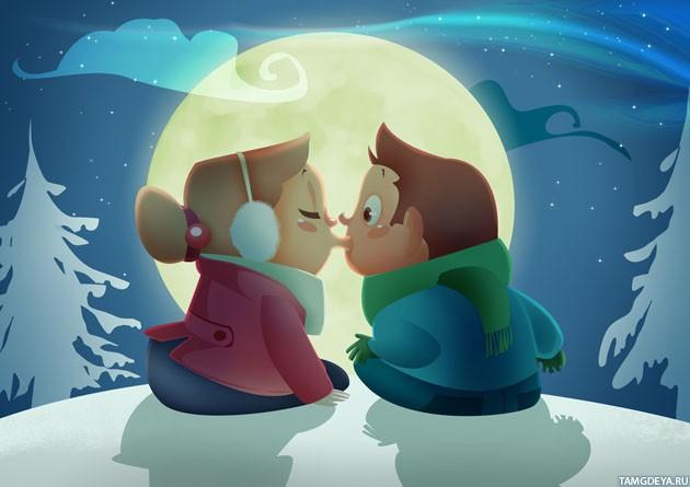 фото девочка и мальчик целуются