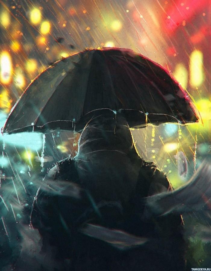 Человек в капюшоне под зонтом со спины идёт по городу - картинки ...